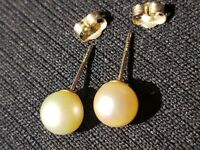 14k 585 Yellow Gold 6mm Cultured Pearl Earrings