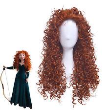 Brave Merida Long Curly Wavy Hair Heat Resistant Cosplay Wigs  H75