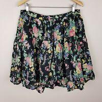 Dangerfield Skirt Size 14 Black Floral Print Lined BNWT