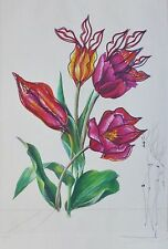 SALVADOR DALI KISSING TULIPS HAND SIGNED  Etching COA Surrealistic Flowers