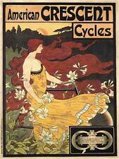 ADVERT CRESCENT BICYCLE CYCLES AMERICAN FRANCE POSTER ART PRINT PICTURE BB1756B