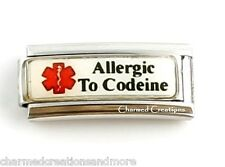Allergic To Codeine Meds Caduceus Medical Alert ID 9mm Italian Charm Superlink