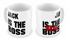 Pair of Personalised (Name) Is The Boss (Name) Is The REAL Boss Novelty Gift Mug