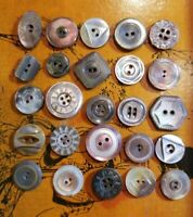 Lot of Antique Smokey Mother Of Pearl Carved Buttons 26 Pieces