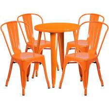 24'' Round Orange Metal Indoor-Outdoor Restaurant Table Set with 4 Cafe Chairs