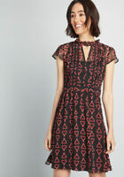 Modcloth Christmas Dress Oh Say Can Museum A-Line Dress XS , M