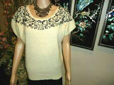 Axiom Women's Knit Size M Lambswool/angora Blend Short Sleeve Sweater