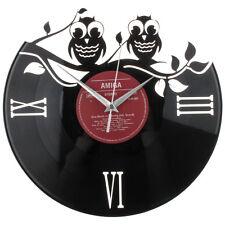 Original-Schallplatten-Wanduhr Ø30cm, Eulen, Quarzuhrwerk