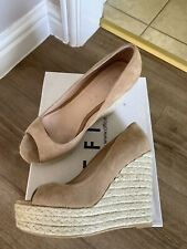 Office Size 4 Joey Taupe Suede Espadrille Wedge Shoes Worm Once