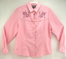 Rough Rider by Circle T Pink Roses Bling Prism Button Western Shirt Large
