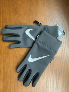 NIKE YOUTH GLOVES, One Sz, Black & Grey w/Silver Swoosh Touch Screen Tip