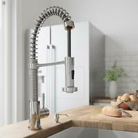 Chrome Single Handle Swivel Pull Down Spray Kitchen Sink Faucet W/Soap Dispenser