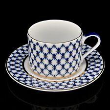 Cup with saucer tea, Lomonosov Porcelain, Grid-Cobalt, IFZ, Russia