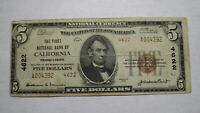 $5 1929 California Pennsylvania PA National Currency Bank Note Bill Ch. #4622