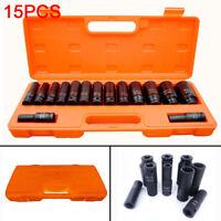 "15x 1/2"" inch Deep Impact Socket Tool Set 10-32mm Metric Garage Workshop"