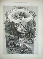 Old Antique Print 1888 Fine Art Spring Scene Trees River Nature Country 19th