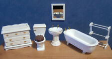 1/12, Dolls House Furniture Miniature White Bathroom Set Bath Sink Cupboard LGW
