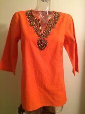 Michael Kors 165$ S Tunic Kaftan Top Blouse Cover Up Orange swarovski