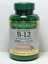 Nature's Bounty Sublingual Vitamin B-12 2500mcg 300 Tablets Cherry Flavor