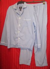 Men's Stafford Long Sleeve Elastic Drawstring Waist Pajama Set Blue Size M Excel