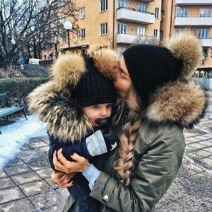 2PC Kids + Mom Winter Warm Baby Beanie Hat Knitted Fur Pom Pom Bobble Cap