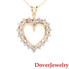 Estate Diamond 10K Yellow Gold Heart Pendant Chain Necklace NR