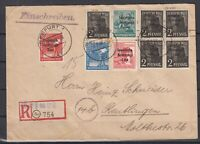 DF8116/ GERMANY ALLIED + SOVIET ZONE – NICE MIXED FRANKING ON REGISTERED COVER