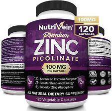 Nutrivein Premium Zinc Picolinate 100mg - 120 Capsules - Immunity Defense