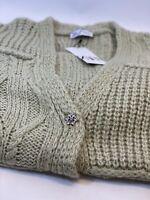 Zara Patchwork Knit Oversized Green Cardigan Button Up Jacket Size M