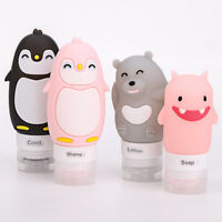 Cute 4 Pcs Silicone Travel Flight Hand Luggage Shampoo Lotion Squeezable Bottles