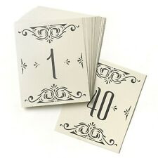 Glamour Table Numbers Cards Black Ivory Scroll Wedding Reception 1-40 MW21843