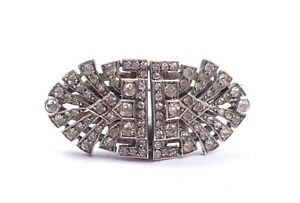 Art Deco Dress Clips Duette Brooch Sterling Silver & Paste 23.6g