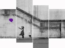 Super Extra Large Purple Banksy Multi 4 Panel Set Canvas Picture Wall Art Prints