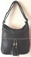 Italian Women's Ladies Black Faux Leather Slouch Medium  Handbag Bag