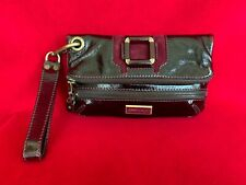 Jimmy Choo Burgundy Patent Leather Clutch With Wristlet Handle