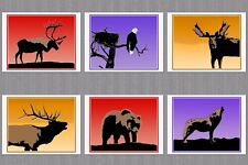 6 Blank Note Greeting Cards 1 Each Caribou Moose Elk Eagle Bear Wolf at Sunset
