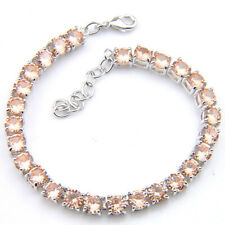 "2 Pcs 1 Lot Fire Round Honey Brazil Citrine Gems Silver Chain Charm Bracelets 8"""