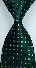 New Classic Pattern Checks Dark Green JACQUARD WOVEN Silk Men's Tie Necktie