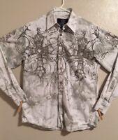 Men's Roar Shirt Size M Button Down Long Sleeve Bling Design Cotton