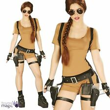 Womens Ladies Lara Croft Tomb Raider Video Game 90s Fancy Dress Costume Outfit