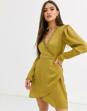 ASOS Neon Rose Wrap Front Mini Dress in Hammered Satin Size Large Mustard BNWT