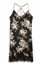 LADIES PRIMARK BLACK FLORAL SATIN DRESS WOMENS SUMMER SUN BNWT SIZE 12