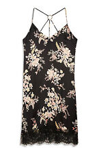 LADIES PRIMARK BLACK FLORAL SATIN DRESS WOMENS SUMMER SUN BNWT SIZE 12
