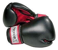 Guantes De Boxeo De Cuero Sintetico Proforce - Negro Con Palma Roja - Negro .