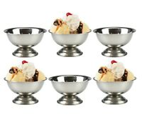 Set of 6 5oz Stainless Steel Sundae Dishes Cups Ice Cream Bowls Stainless Steel