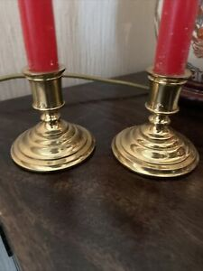 Set Of Two Vintage Style Brass Candle Holders