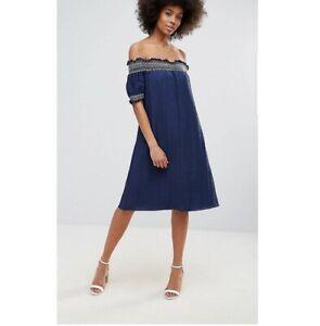 Brand New Darling London Navy Blue Bardot Dress Loose Beach Holiday Swimwear