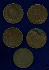 NETHERLANDS  KINGDOM  2 1/2 CENTS: 1877,1880,1884,1904,