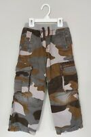 Mini Boden Boys Cargo Pants 6 Cotton Gray Brown Green Camouflage Pockets Lined