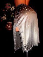 Vtg Silky Silver Monogram Givenchy Underdressings Designer Nylon Lace Half Slip
